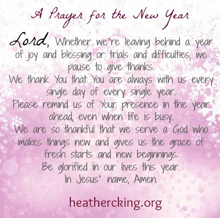 A Prayer and Bible Verse for the New Year – Heather C. King – Room ...